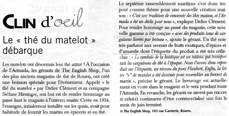 article pour le the rouen